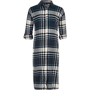 Girls blue check maxi shirt