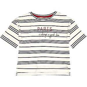Mini girls white stripe boxy Paris t-shirt