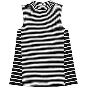 Mini girls black stripe dress