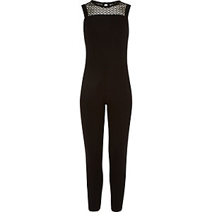 Girls black lace yoke jumpsuit