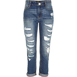 Girls mid wash ripped boyfriend jeans