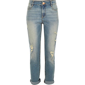 Girls mid wash distressed boyfriend jeans