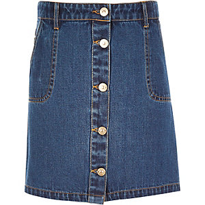 Girls denim button-up A-line skirt