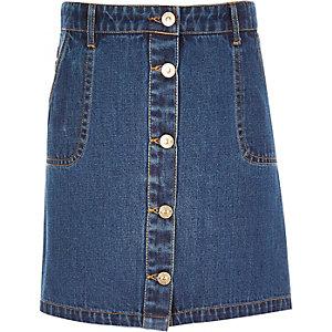 Girls denim button-up A-line skirt