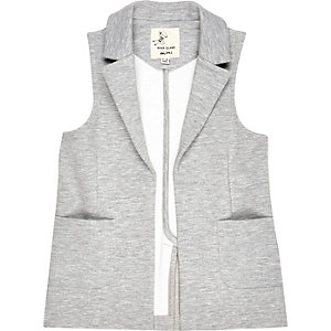 Mini girls grey sleeveless blazer