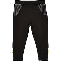 Legging en maille point de Rome noir mini fille
