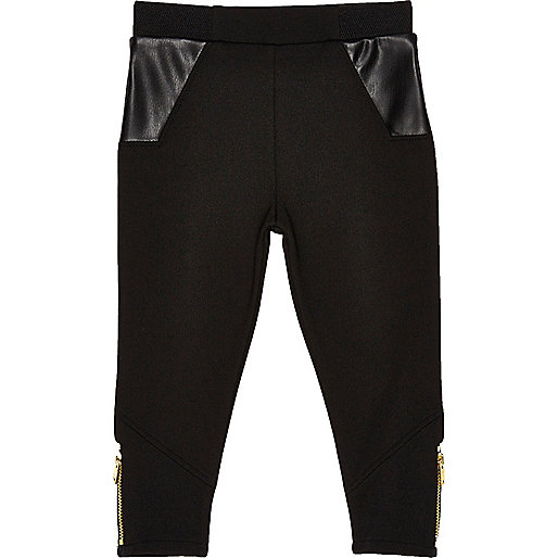 Mini girls black ponte leggings