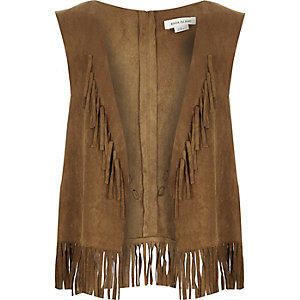 Girls brown fringed faux suede waistcoat