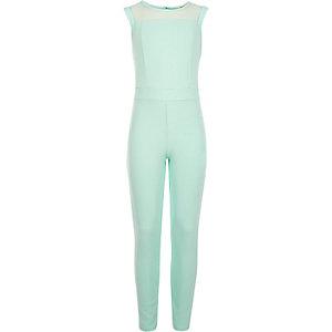 Girls aqua blue lace yoke jumpsuit