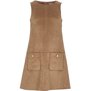 Girls brown faux suede shift dress