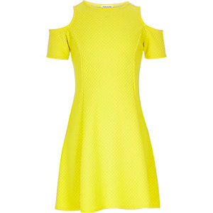 Girls yellow textured cold shoulder dress