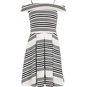 Girls black stripe bardot dress