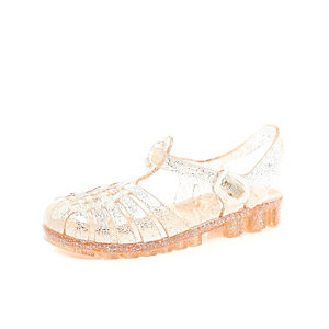 Mini girls gold jelly shoes