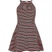 Girls orange stripe fit and flare dress