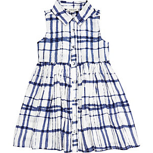 Mini girls white check sun dress