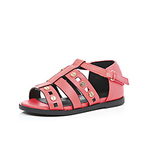 Mini girls coral gladiator sandals