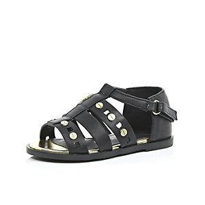 Mini girls black gladiator sandals