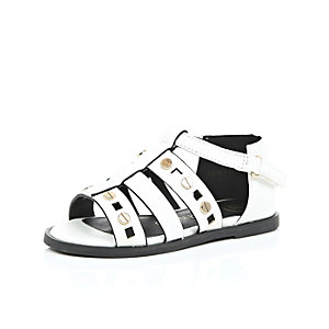Mini girls white gladiator sandals