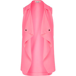 Girls pink draped sleeveless jacket