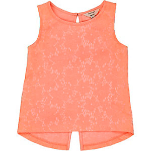 Mini girls coral lace split back vest
