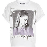 Girls white Arianna Grande print t-shirt