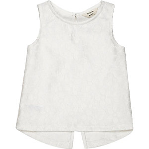 Mini girls white lace split back tank