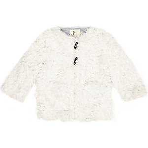 Mini girls cream shaggy faux-fur coat