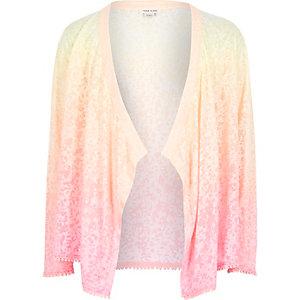 Girls faded pink printed kimono