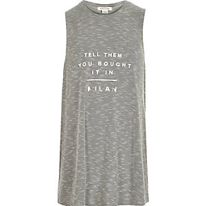 Girls grey Milan print tank top