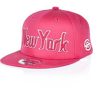 Girls pink New York flatpeak cap