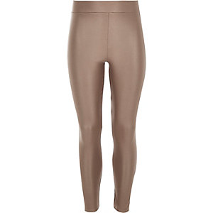 Girls brown coated high waisted leggings