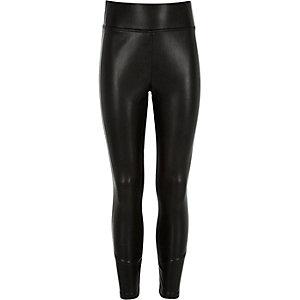 Girls black premium leather-look leggings