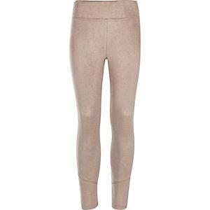 Girls grey faux suede leggings