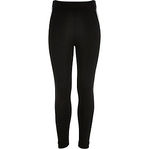 Girls black zip side leggings