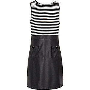 Girls navy stripe A-line dress
