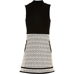 Girls black split A-line dress