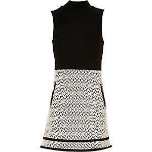 Girls black split A-line dress