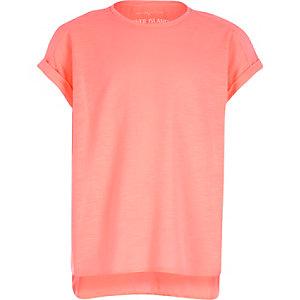Girls orange woven back t-shirt
