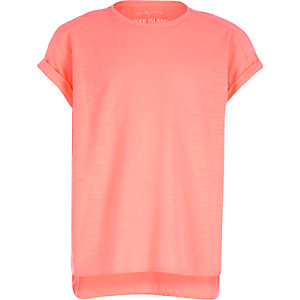 Girls orange woven back t-shirt