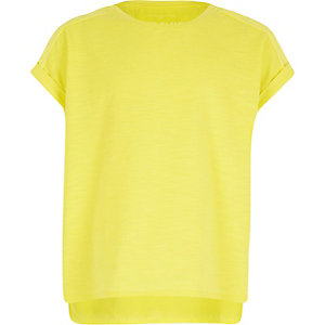 Girls yellow woven back t-shirt