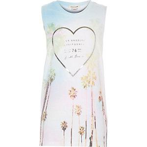 Girls white heart print tank top