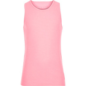 Girls pink woven back fluro tank top