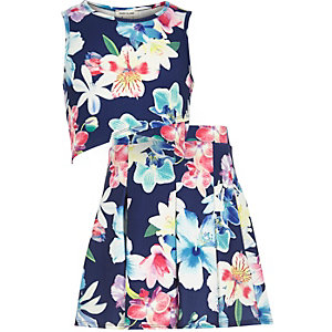 Girls blue floral wrap top skirt outfit