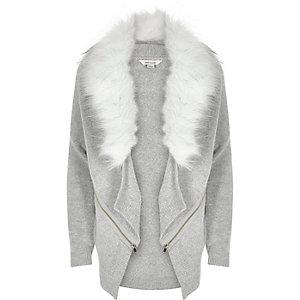 Girls grey faux fur collar cardigan