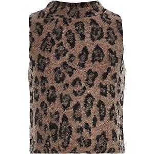 Girls brown leopard print turtle neck sweater