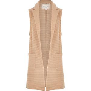 Girls beige sleeveless jersey blazer