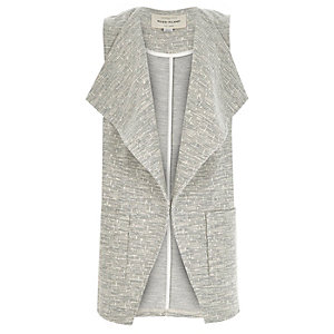 Girls grey slouchy sleeveless blazer