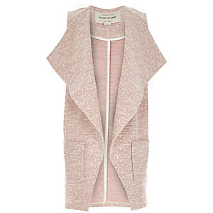 Girls pink slouchy sleeveless blazer