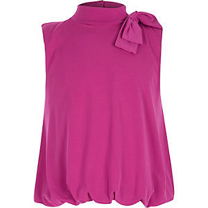 Girls pink tie side bubble top