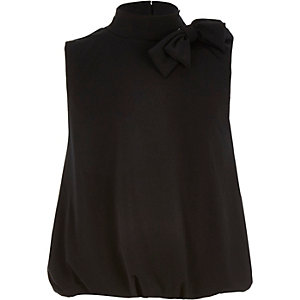 Girls black bow side bubble top